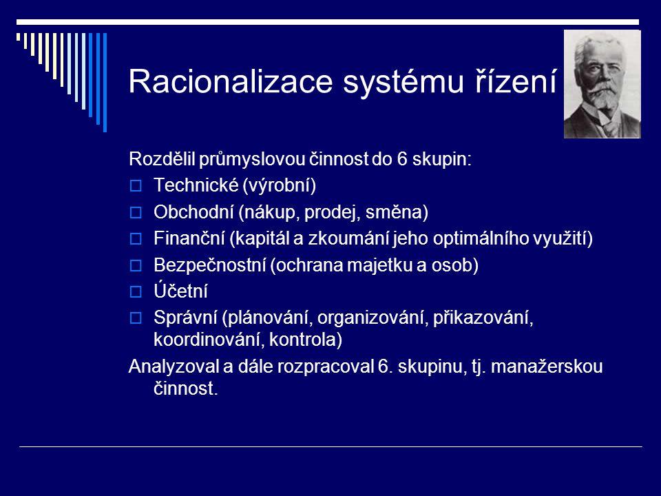 Racionalizace systému řízení