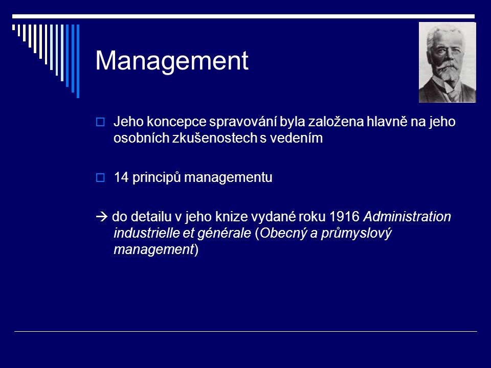 Management Jeho koncepce spravování byla založena hlavně na jeho osobních zkušenostech s vedením. 14 principů managementu.