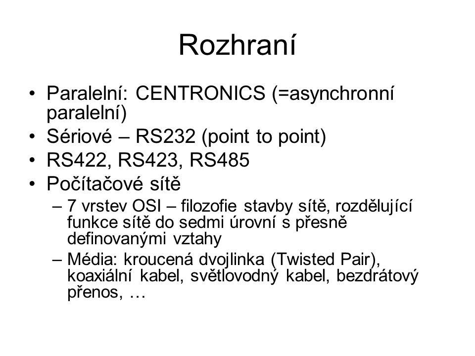 Rozhraní Paralelní: CENTRONICS (=asynchronní paralelní)