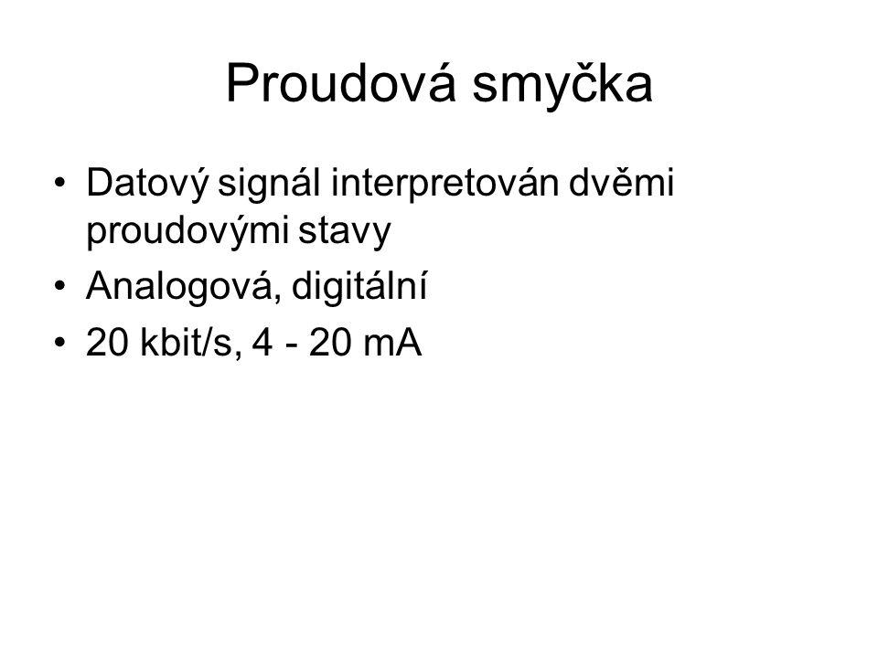 Proudová smyčka Datový signál interpretován dvěmi proudovými stavy