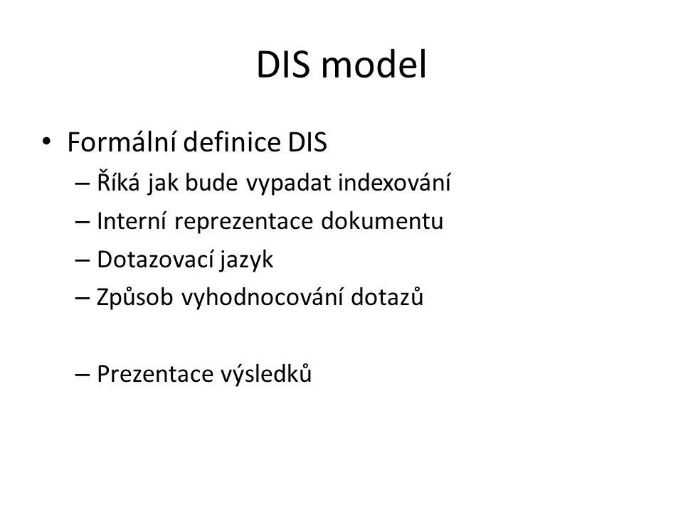 DIS model Formální definice DIS Říká jak bude vypadat indexování
