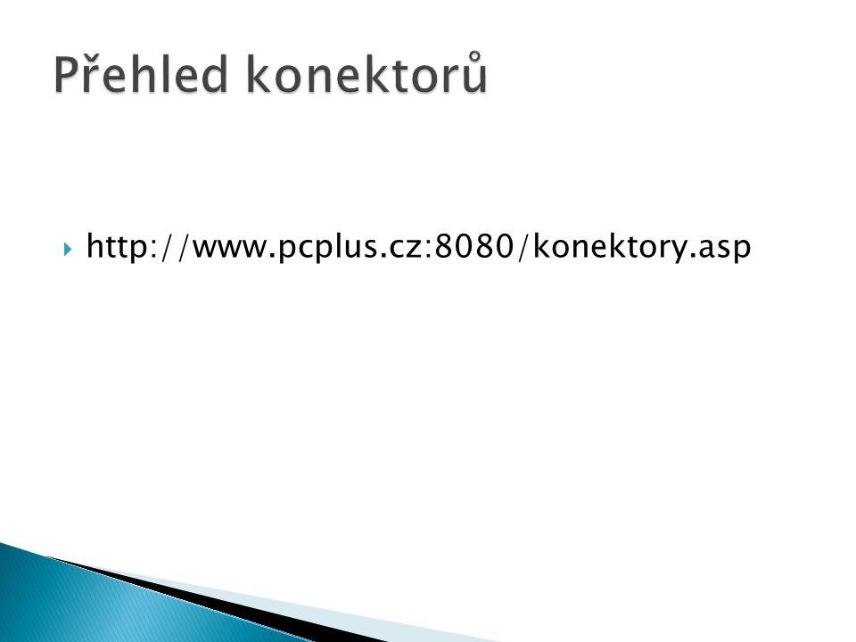 Přehled konektorů http://www.pcplus.cz:8080/konektory.asp