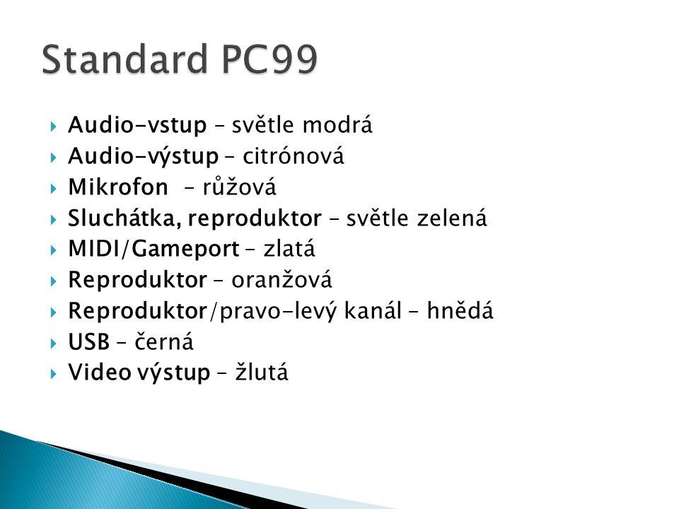 Standard PC99 Audio-vstup – světle modrá Audio-výstup – citrónová