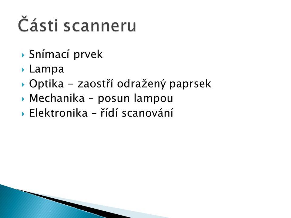 Části scanneru Snímací prvek Lampa Optika - zaostří odražený paprsek
