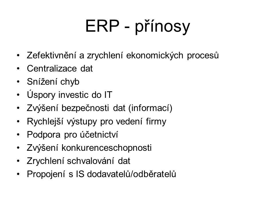 ERP - přínosy Zefektivnění a zrychlení ekonomických procesů
