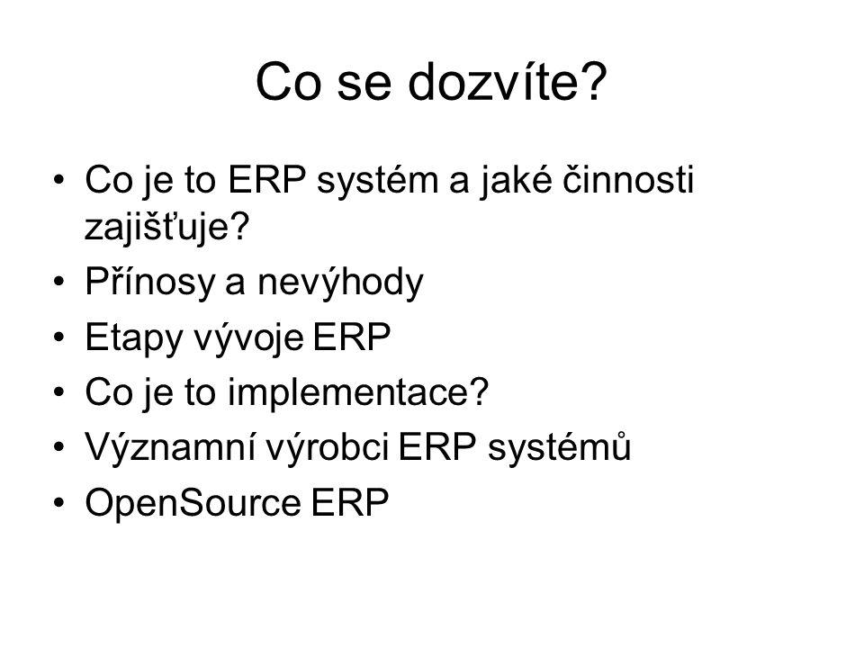 Co se dozvíte Co je to ERP systém a jaké činnosti zajišťuje