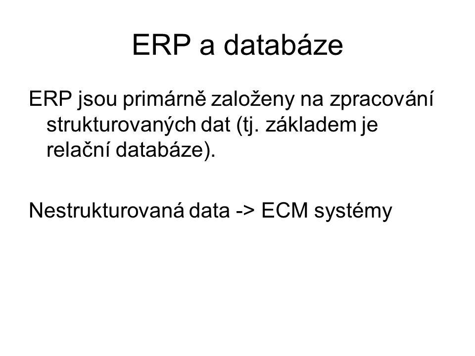 ERP a databáze ERP jsou primárně založeny na zpracování strukturovaných dat (tj.