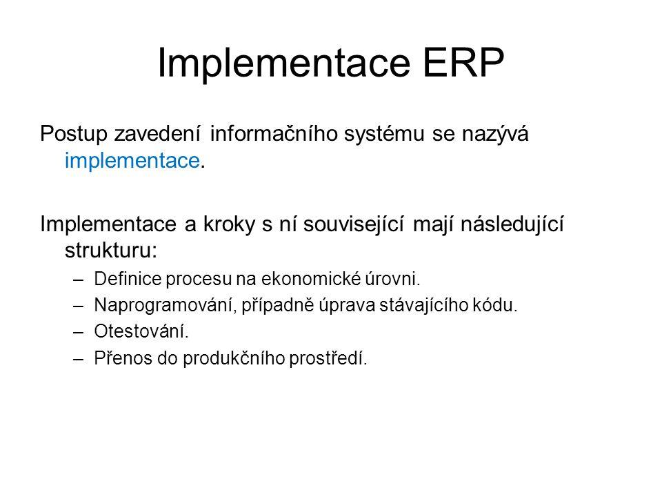 Implementace ERP Postup zavedení informačního systému se nazývá implementace. Implementace a kroky s ní související mají následující strukturu: