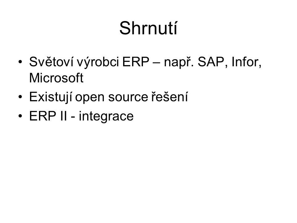 Shrnutí Světoví výrobci ERP – např. SAP, Infor, Microsoft