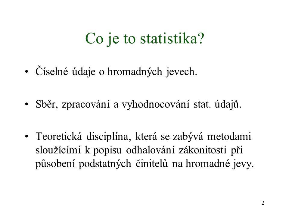 Co je to statistika Číselné údaje o hromadných jevech.