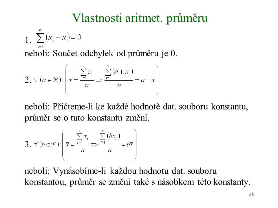 Vlastnosti aritmet. průměru