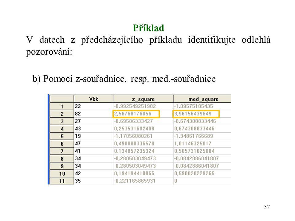 Příklad V datech z předcházejícího příkladu identifikujte odlehlá pozorování: