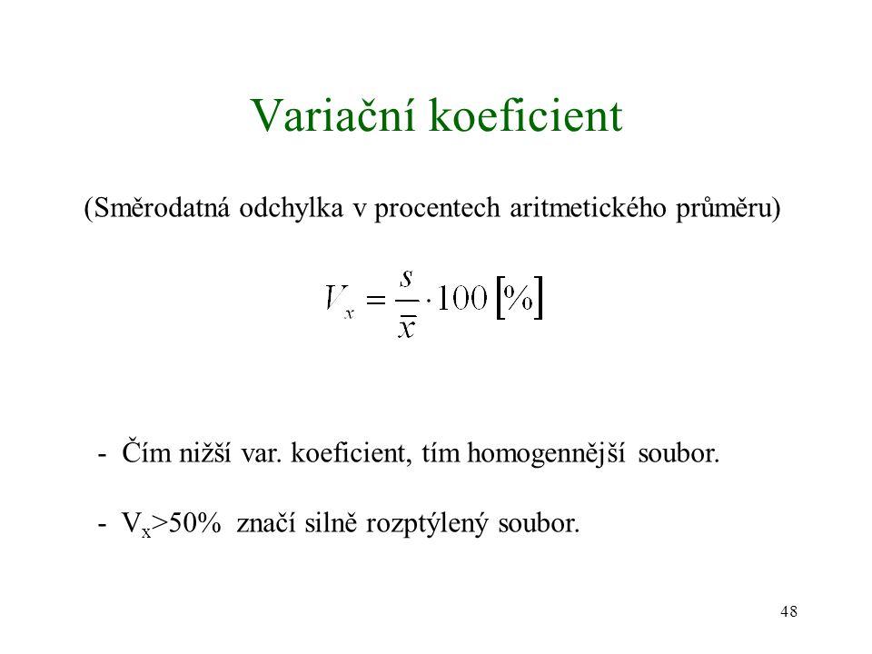 Variační koeficient (Směrodatná odchylka v procentech aritmetického průměru) - Čím nižší var. koeficient, tím homogennější soubor.