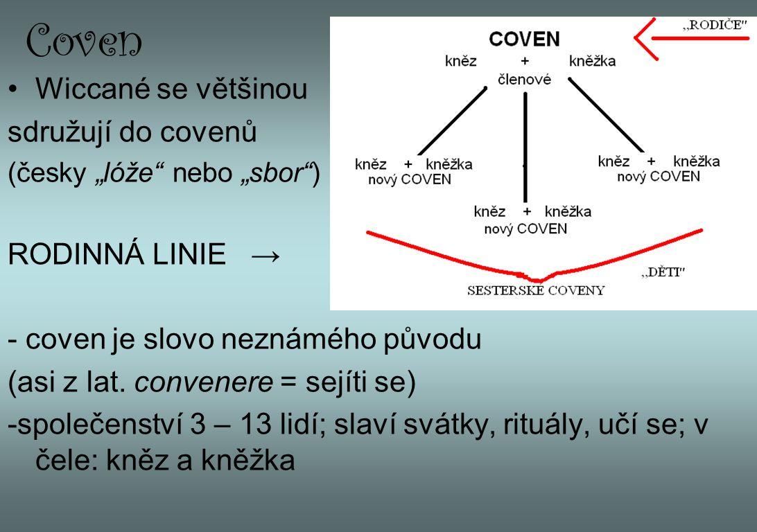 Coven Wiccané se většinou sdružují do covenů RODINNÁ LINIE →