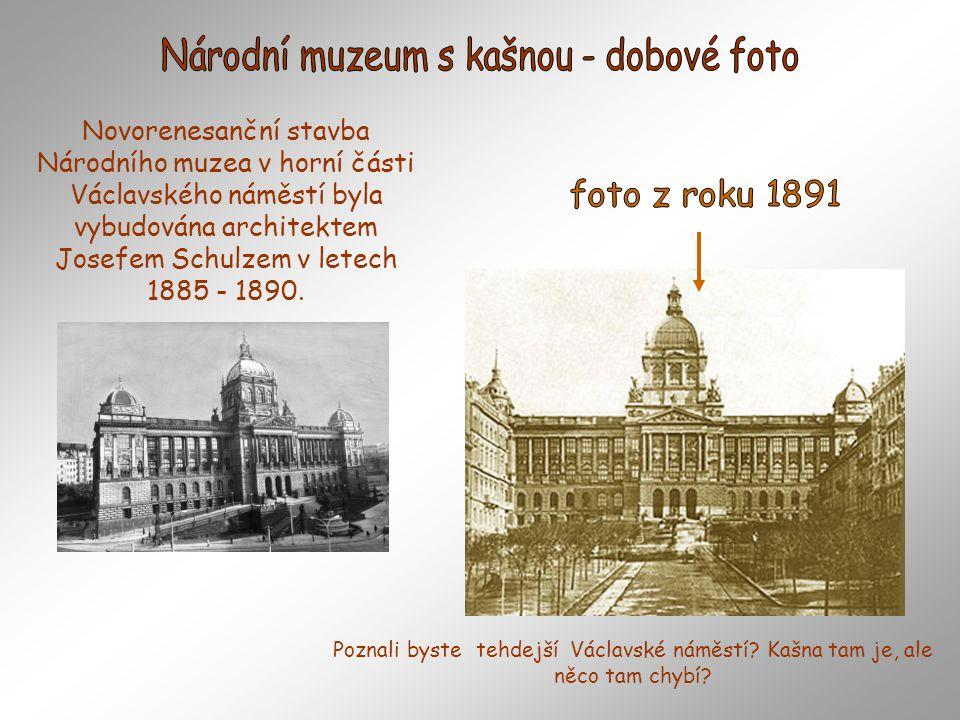 Národní muzeum s kašnou - dobové foto