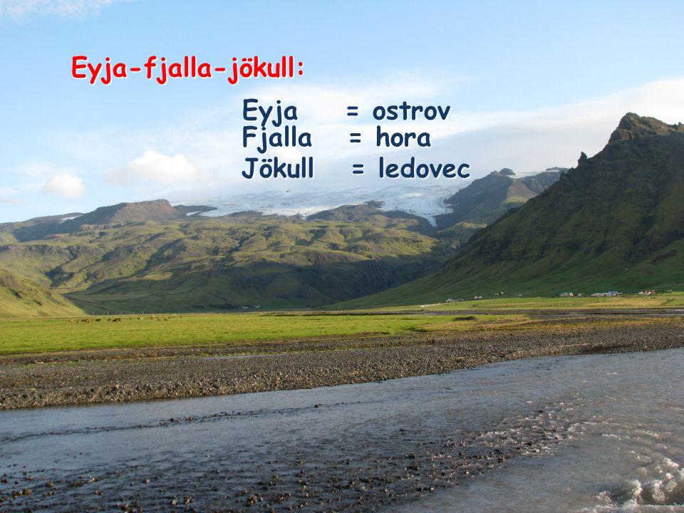 Eyja-fjalla-jökull: Eyja = ostrov Fjalla = hora Jökull = ledovec