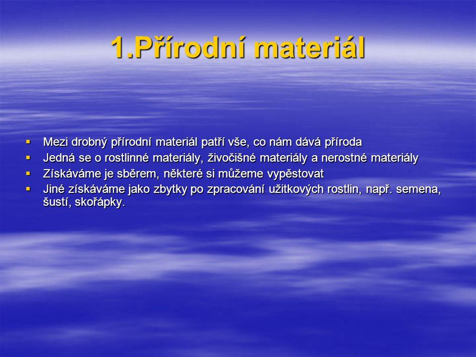 1.Přírodní materiál Mezi drobný přírodní materiál patří vše, co nám dává příroda.