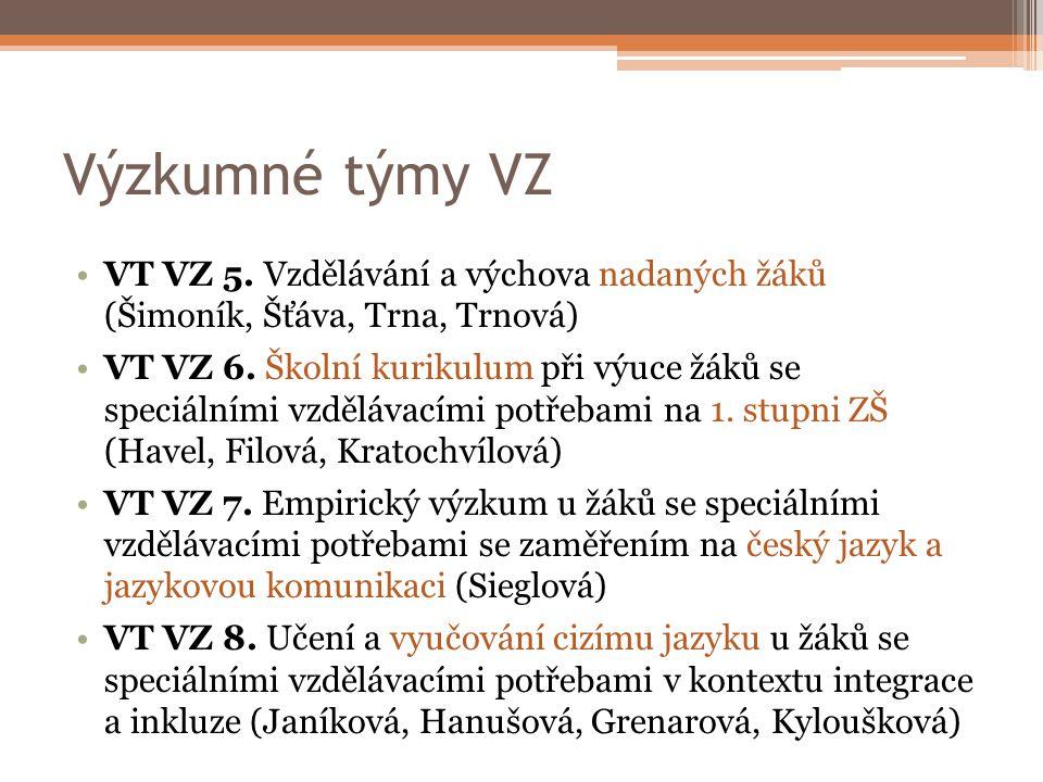 Výzkumné týmy VZ VT VZ 5. Vzdělávání a výchova nadaných žáků (Šimoník, Šťáva, Trna, Trnová)