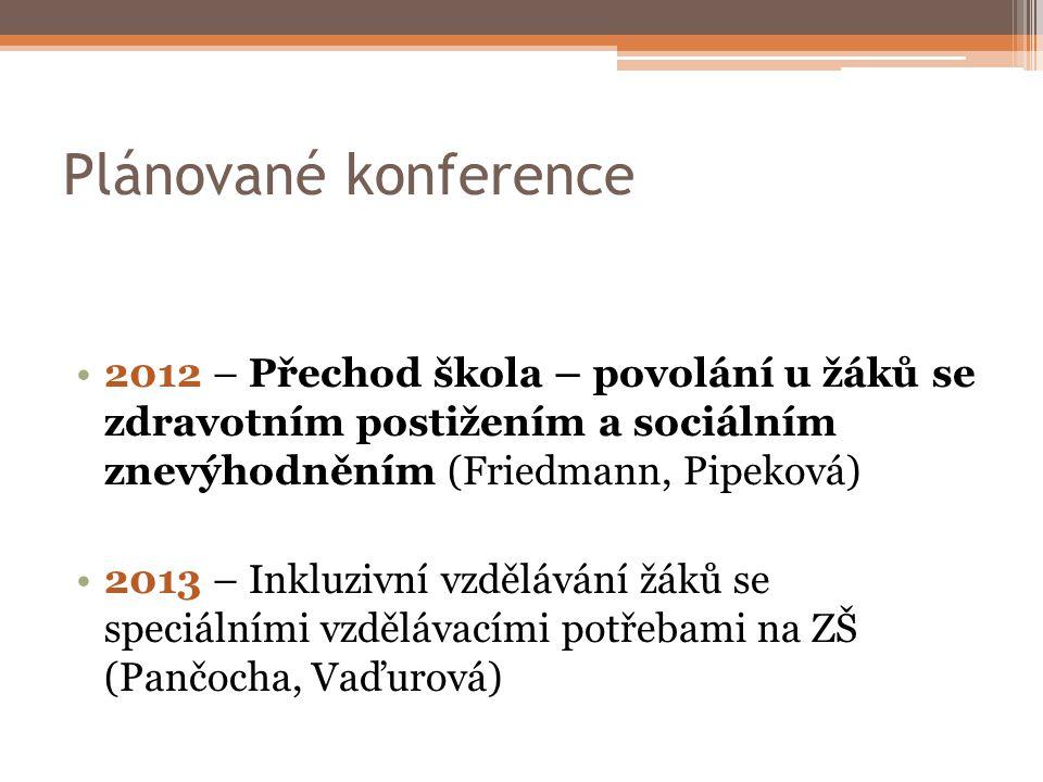 Plánované konference 2012 – Přechod škola – povolání u žáků se zdravotním postižením a sociálním znevýhodněním (Friedmann, Pipeková)