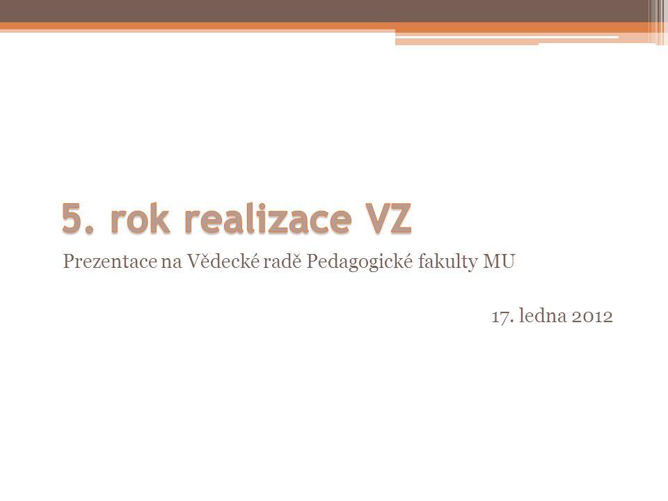 5. rok realizace VZ Prezentace na Vědecké radě Pedagogické fakulty MU