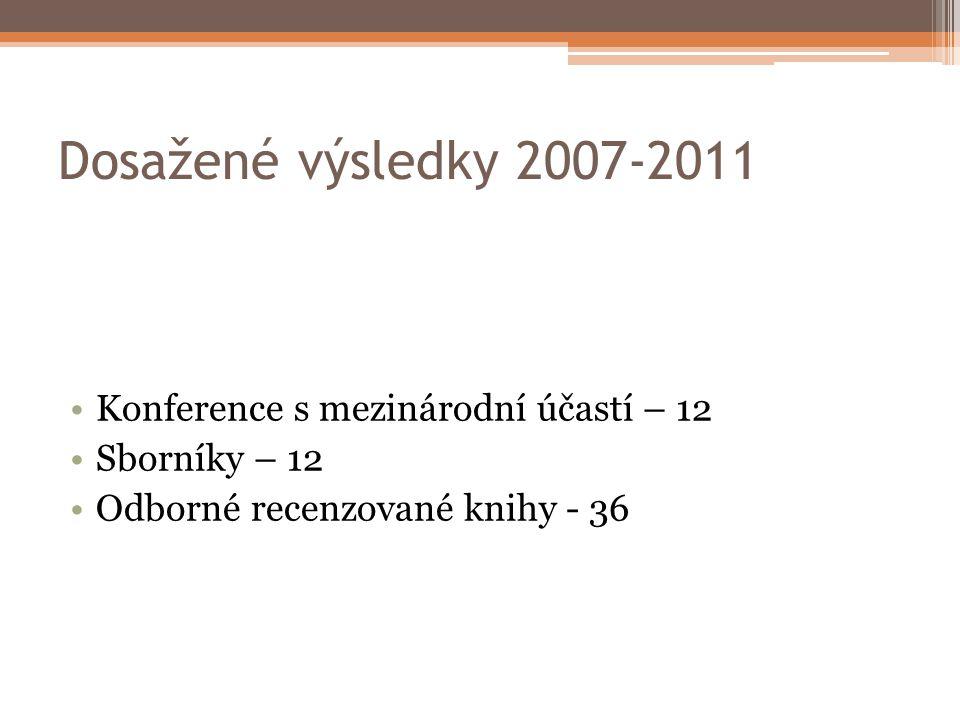 Dosažené výsledky 2007-2011 Konference s mezinárodní účastí – 12