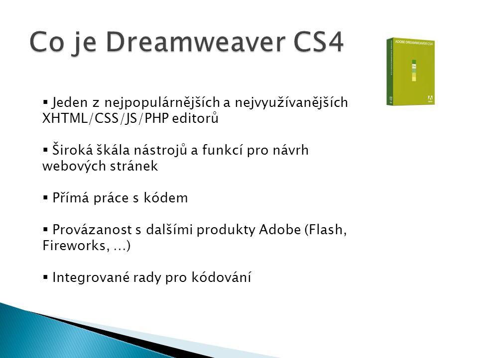 Co je Dreamweaver CS4 Jeden z nejpopulárnějších a nejvyužívanějších XHTML/CSS/JS/PHP editorů.