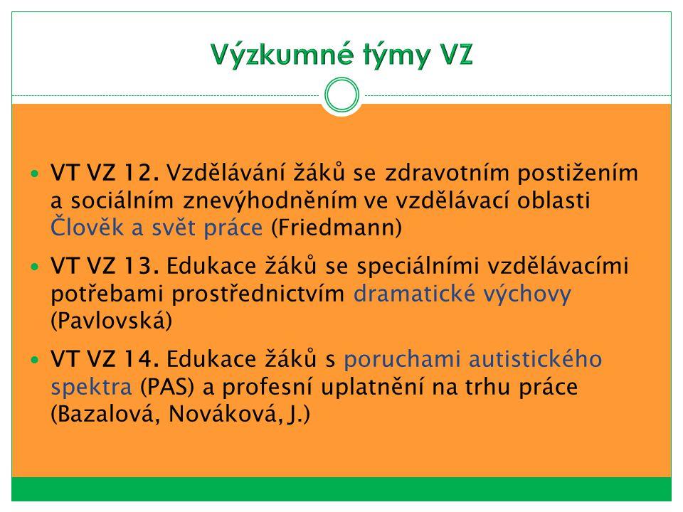 Výzkumné týmy VZ VT VZ 12. Vzdělávání žáků se zdravotním postižením a sociálním znevýhodněním ve vzdělávací oblasti Člověk a svět práce (Friedmann)