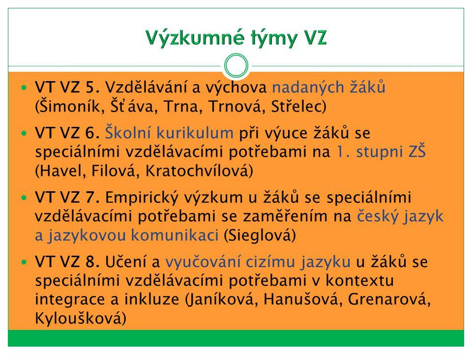 Výzkumné týmy VZ VT VZ 5. Vzdělávání a výchova nadaných žáků (Šimoník, Šťáva, Trna, Trnová, Střelec)