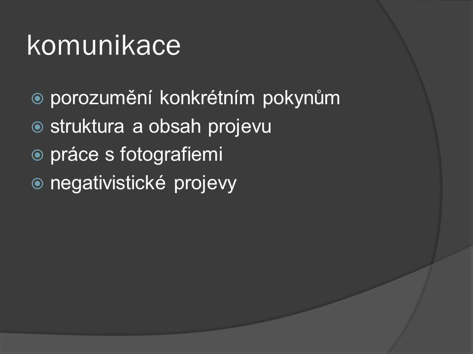 komunikace porozumění konkrétním pokynům struktura a obsah projevu