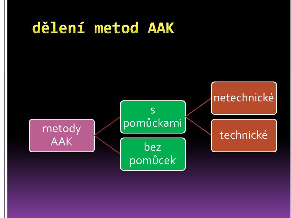 dělení metod AAK metody AAK s pomůckami netechnické technické