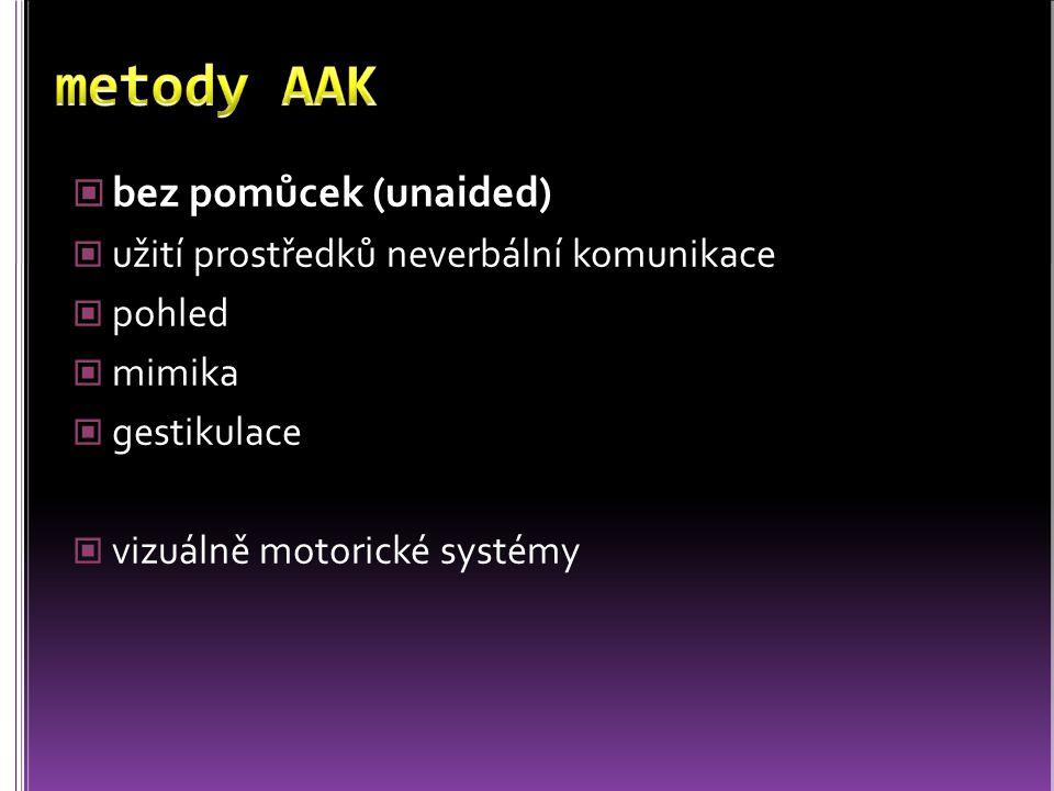 metody AAK bez pomůcek (unaided)