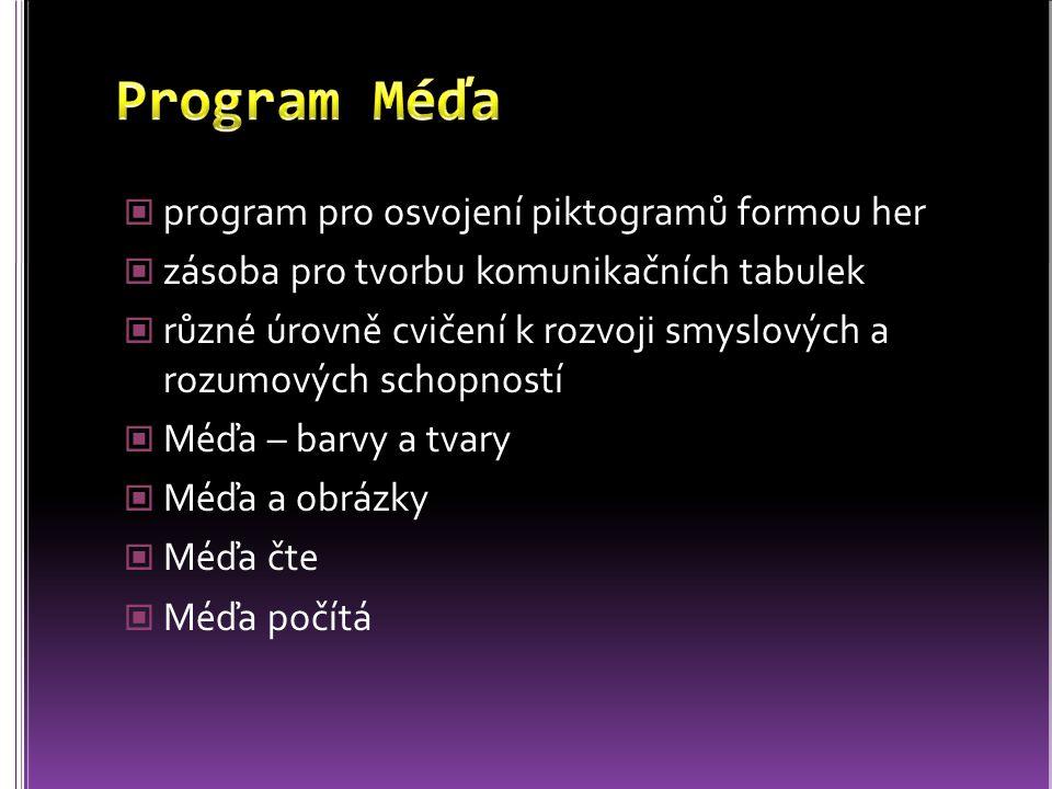 Program Méďa program pro osvojení piktogramů formou her
