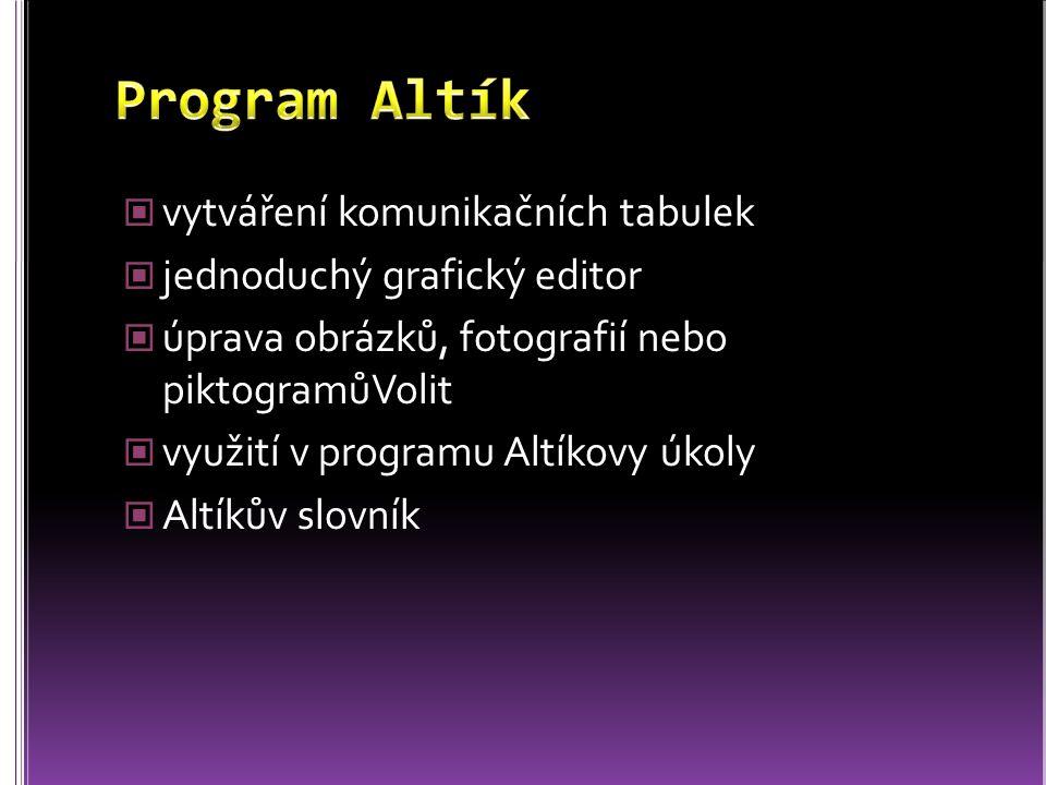 Program Altík vytváření komunikačních tabulek