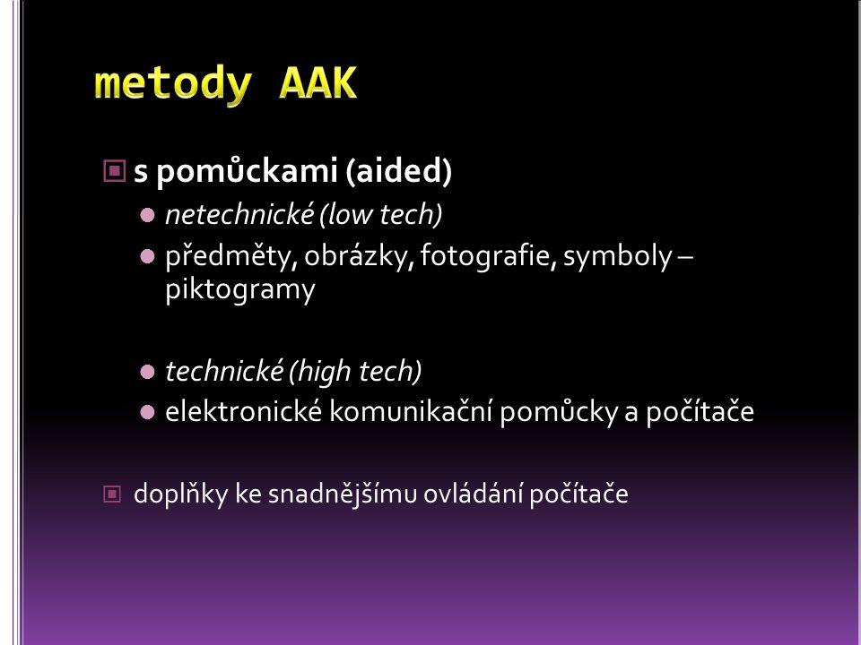 metody AAK s pomůckami (aided) netechnické (low tech)