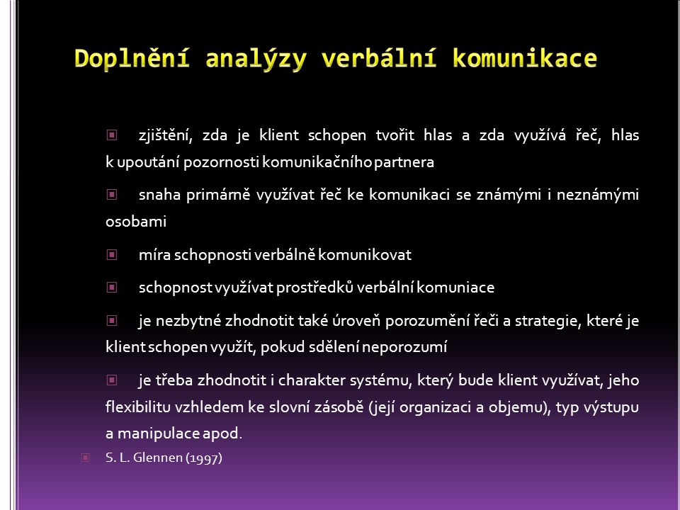 Doplnění analýzy verbální komunikace