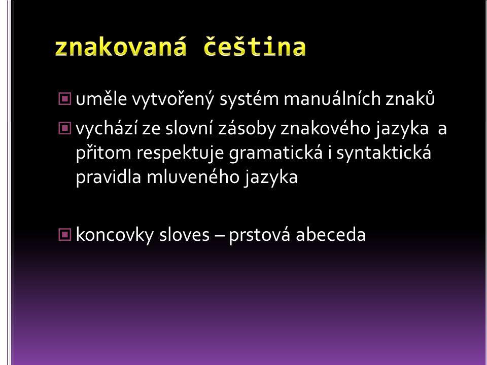 znakovaná čeština uměle vytvořený systém manuálních znaků