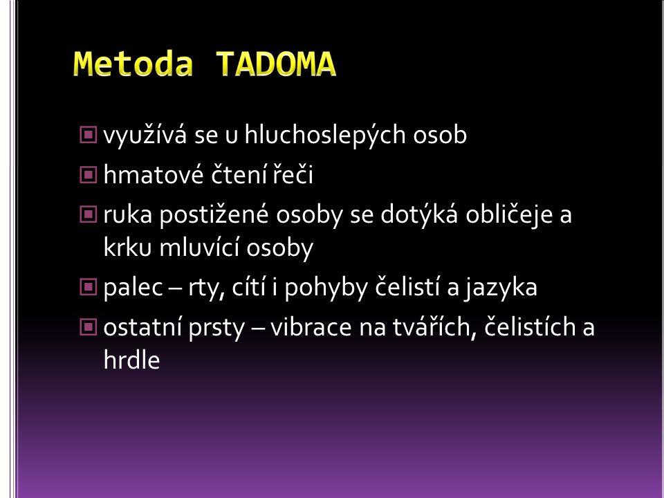 Metoda TADOMA využívá se u hluchoslepých osob hmatové čtení řeči