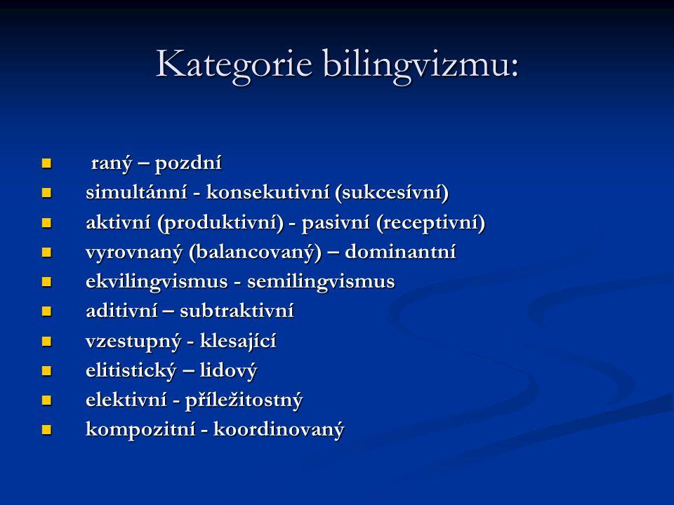 Kategorie bilingvizmu: