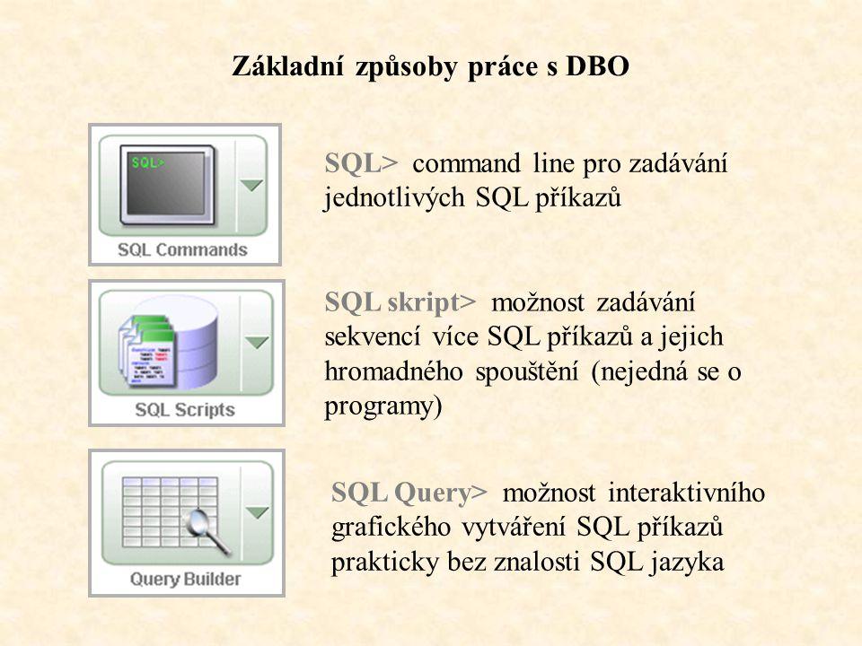 Základní způsoby práce s DBO