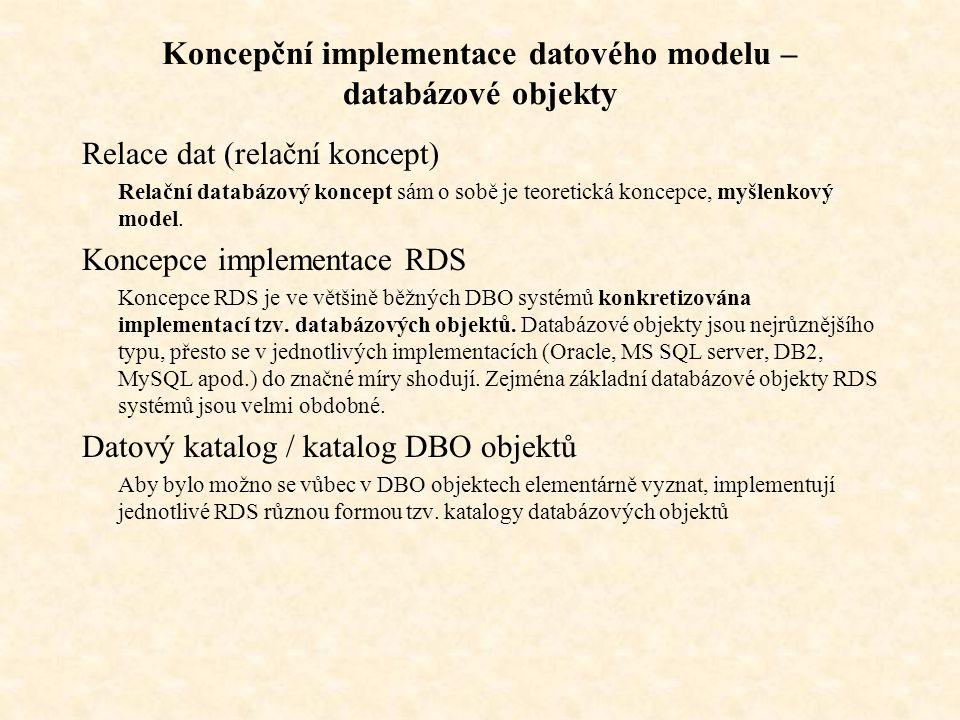 Koncepční implementace datového modelu – databázové objekty