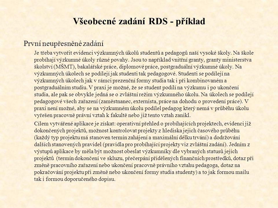Všeobecné zadání RDS - příklad
