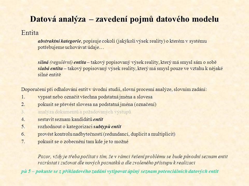 Datová analýza – zavedení pojmů datového modelu