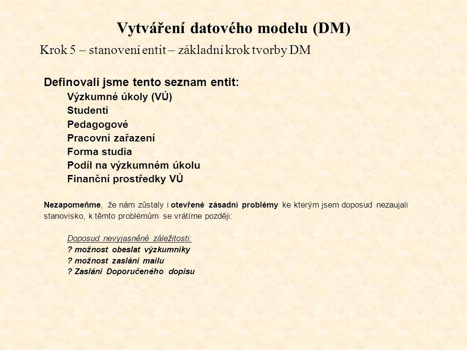 Vytváření datového modelu (DM)