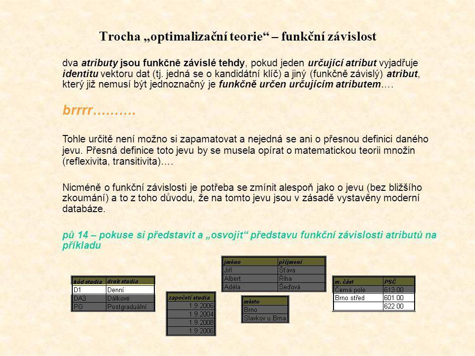 """Trocha """"optimalizační teorie – funkční závislost"""