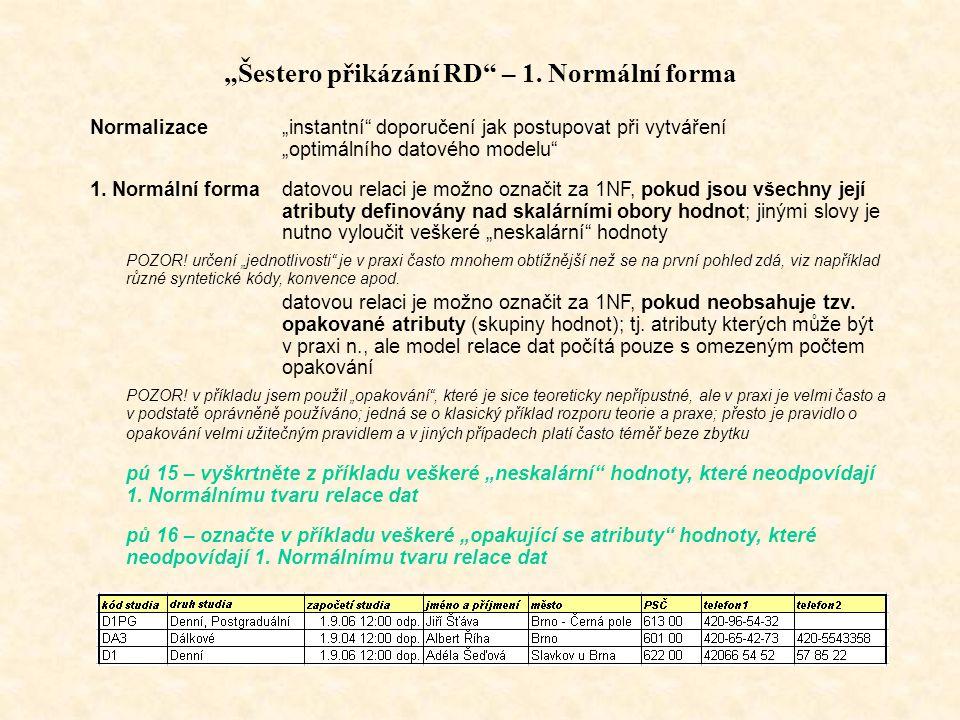 """""""Šestero přikázání RD – 1. Normální forma"""