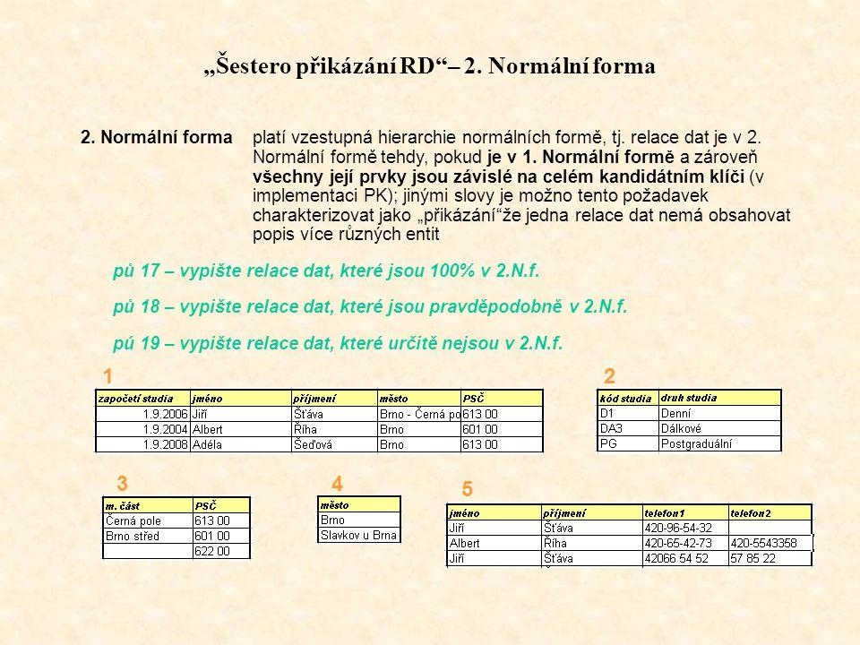 """""""Šestero přikázání RD – 2. Normální forma"""