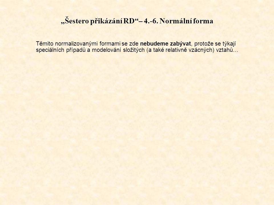 """""""Šestero přikázání RD – 4.-6. Normální forma"""