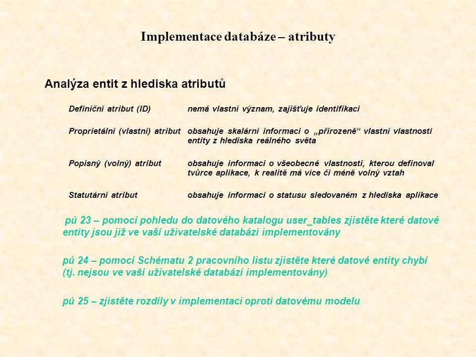Implementace databáze – atributy