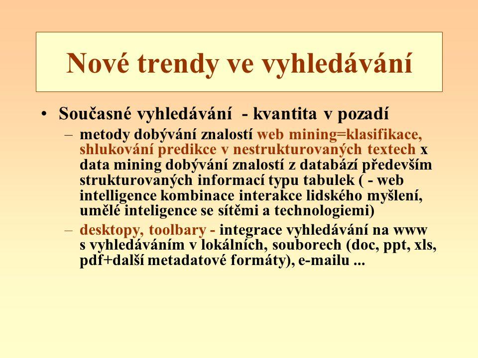 Nové trendy ve vyhledávání