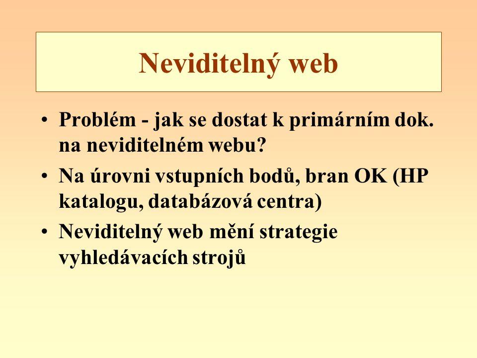 Neviditelný web Problém - jak se dostat k primárním dok. na neviditelném webu Na úrovni vstupních bodů, bran OK (HP katalogu, databázová centra)